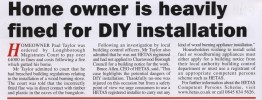Home owner is heavily fined for DIY wood burning stove installation, the importance of using a Hetas Approved Fitter.